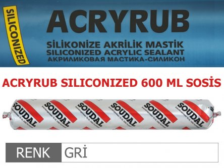 SOUDAL ACRYRUB SİLİKONİZE MASTİK GRİ 600 ML