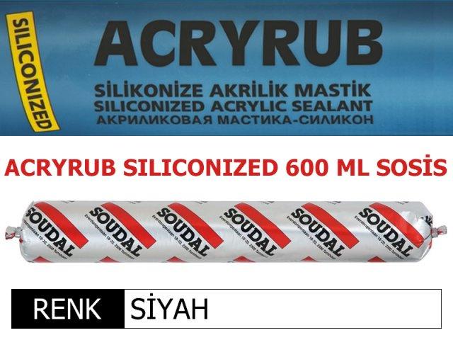 SOUDAL ACRYRUB SİLİKONİZE MASTİK SİYAH 600 ML Resmi