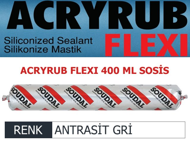 SOUDAL ACRYRUB FLEXİ SİLİKONİZE MASTİK ANTRASİT GRİ 400 ML Resmi