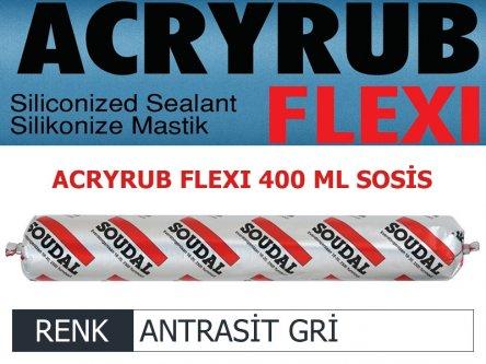 SOUDAL ACRYRUB FLEXİ SİLİKONİZE MASTİK ANTRASİT GRİ 400 ML